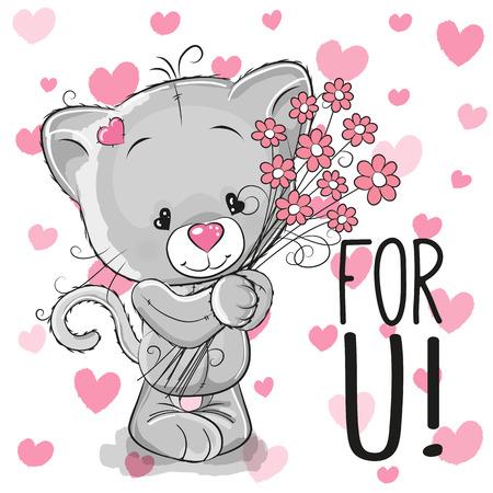 flor caricatura: Tarjeta de San Valentín del gatito de la historieta linda con flores en un fondo del corazón