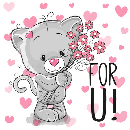 cute kitten: Valentine card Cute Cartoon Kitten with flowers on a heart background