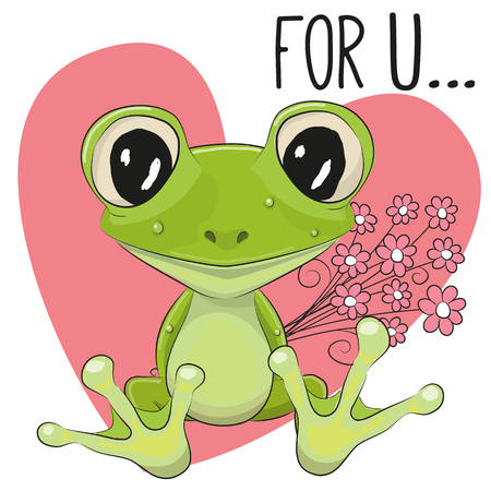 froggy: Valentine card Cute Cartoon froggy with flowers on a heart background