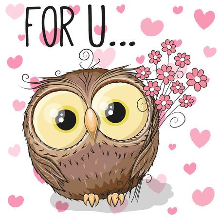 cute cartoon: Valentine card Cute Cartoon Owl with flowers on a heart background