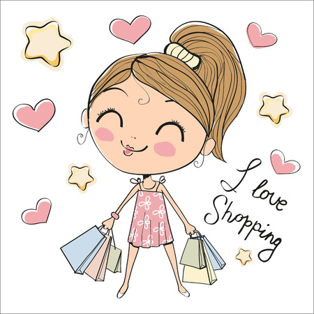 smiling child: Cute cartoon girl with bags on a white background