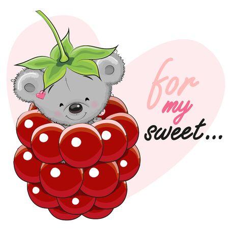 frutas divertidas: Tarjeta del oso de peluche lindo de la historieta en una frambuesa Vectores
