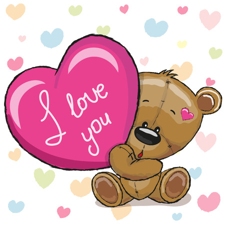 cartoons designs: Cute Teddy Bear with heart on a hearts background Illustration