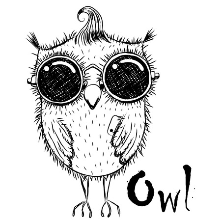Cute cartoon black and white owl in sunglasses with a phone