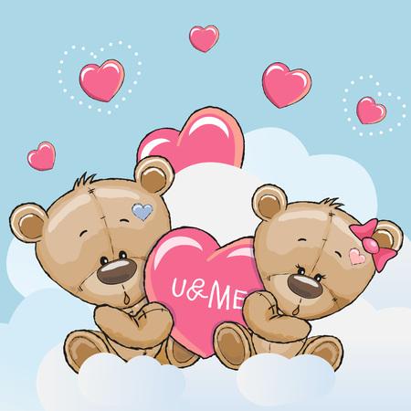 enamorados caricatura: Tarjeta de San Valentín con lindo de la historieta de los amantes de los osos Vectores