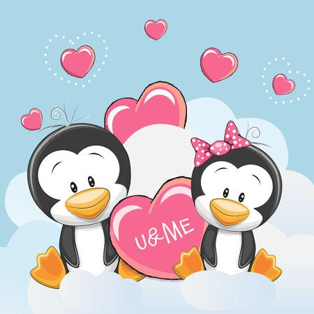 caricaturas de animales: Tarjeta de San Valentín con lindo de los amantes de la historieta Pingüinos