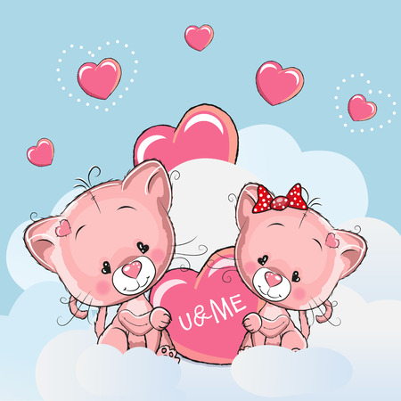 girl in love: Valentine card with Cute Cartoon Lovers Kittens Illustration