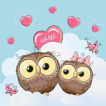 child girl: Valentine card with Cute Cartoon Lovers Owls Illustration