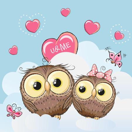 enamorados caricatura: Valentine card with Cute Cartoon Lovers Owls Vectores