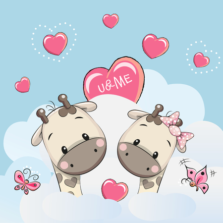 baby illustration: Valentine card with Cute Cartoon Lovers Giraffes