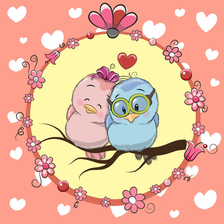Greeting card with Two cute Cartoon Birds Illustration