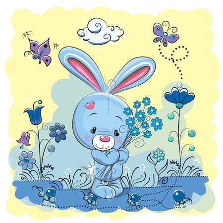 hormiga caricatura: Conejo lindo de la historieta en un prado con flores y mariposas Vectores