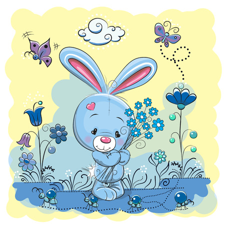 celebrate cartoon: Cute Cartoon Rabbit on a meadow with flowers and butterflies Illustration