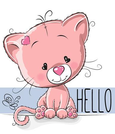 kitten cartoon: Cute Kitten isolated on a white background