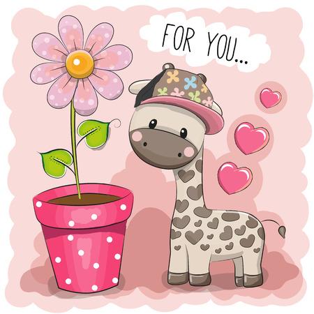 与花的贺卡逗人喜爱的动画片长颈鹿