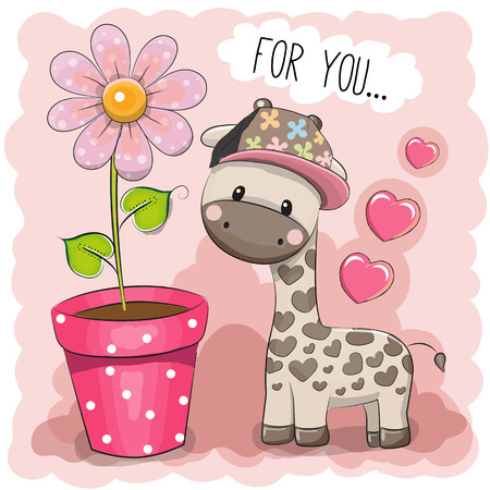 Tarjeta de felicitación linda de la jirafa de dibujos animados con una flor