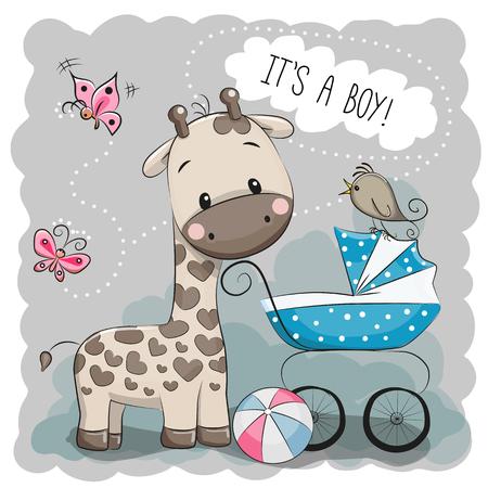 Tarjeta de felicitación es un muchacho con el carro de bebé y de la jirafa Foto de archivo - 53830914