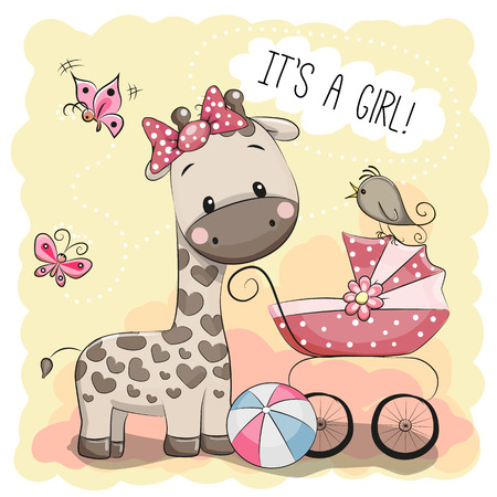 Greeting card it's a girl with baby carriage and Giraffe