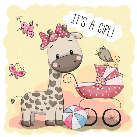 Kartkę z życzeniami to dziewczyna z wózku i żyrafa