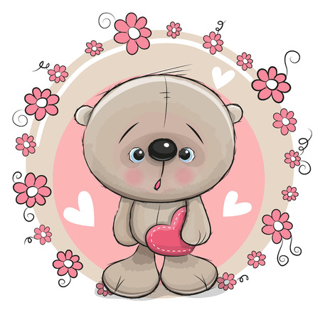 mother day: Greeting card Bear with heart and flowers Illustration