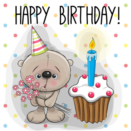 love image: Greeting card cute Teddy Bear with cake