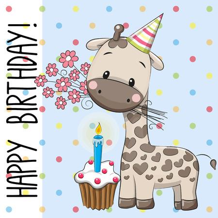 caricaturas de animales: Tarjeta de felicitación de la jirafa linda con flores y una torta