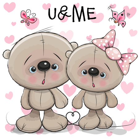 child girl: Two cute Bears on a hearts background Illustration
