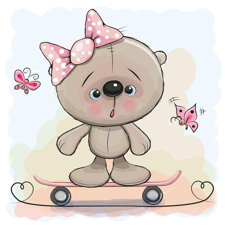 cartoon school girl: Cute Bear Girl on a skateboard and butterflies