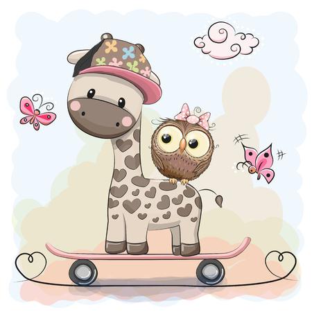 Girafe mignonne et hibou sur une planche à roulettes Vecteurs