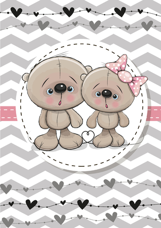 pink flower: Greeting Card with Two cute Teddy Bears Illustration