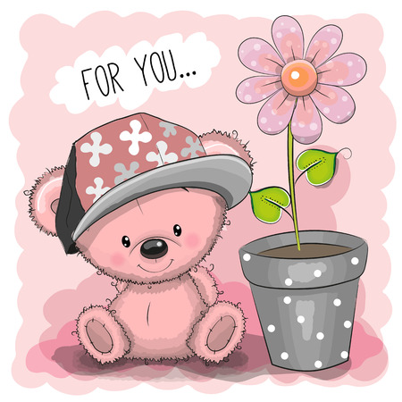 Greeting card Cute Cartoon Teddy Bear with a flower