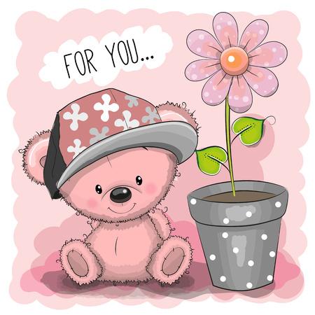 bebes ni�as: Tarjeta de felicitaci�n del oso de peluche lindo de la historieta con una flor