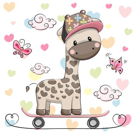 Cute Giraffe wiht a cap on a skateboard and butterflies
