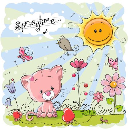 Gatito lindo de la historieta en el prado con flores