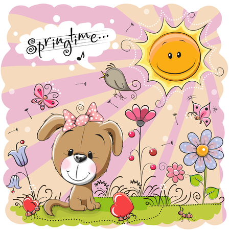 spring season: Cute Cartoon Puppy on the meadow with flowers