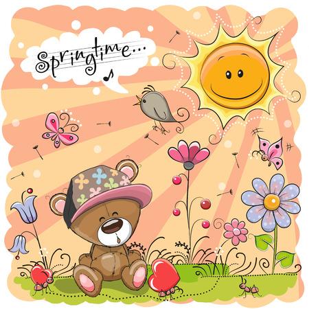 Cute Cartoon Teddy Bear on the meadow with flowers Stock Illustratie