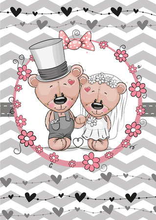 love tree: Greeting card Teddy Bride and Teddy groom