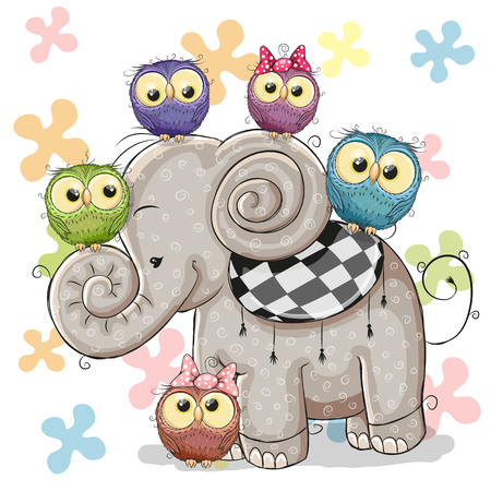 five elements: Cute Cartoon Elephant and Five Owls on a flowers background