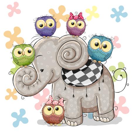 Nette Karikatur-Elefant und Fünf Eulen auf einem Blumen-Hintergrund Vektorgrafik