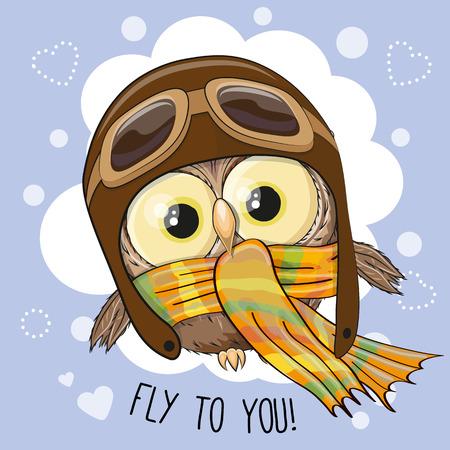 boy child: Cute cartoon Owl in a pilot hat