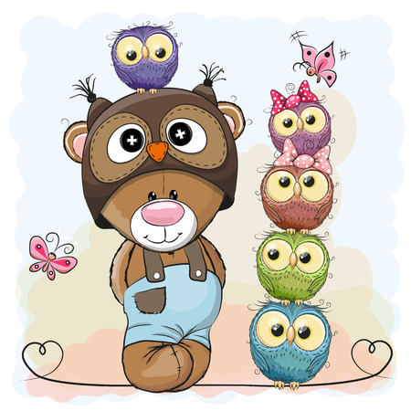 Cute Cartoon Teddy Bear and five Owls Ilustracja