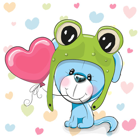 background card: Cute Cartoon Puppy in a frog hat with balloon