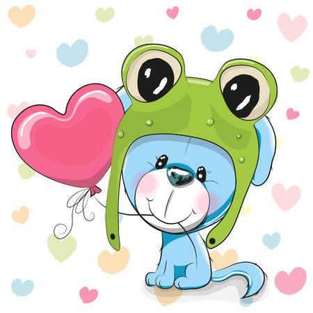 可爱的卡通小狗戴着青蛙帽子和气球