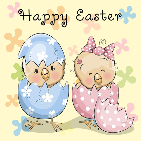 chick cartoon: Greeting Easter card Two hatched chicks on a flowers background