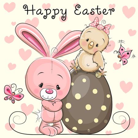 huevo caricatura: Tarjeta de felicitación del conejito de Pascua de dibujos animados lindo y pollo en el huevo