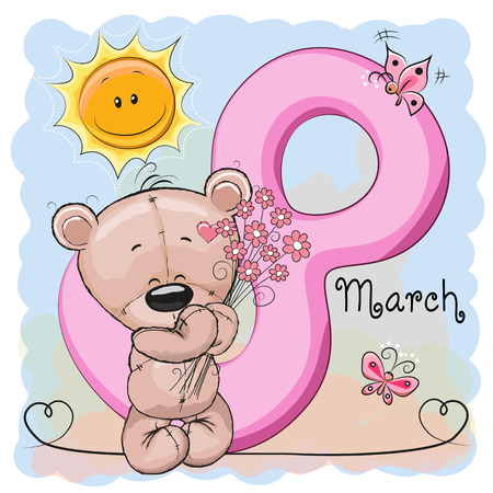 baby background: Greeting card Bear with flowers