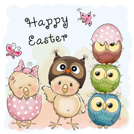 huevo caricatura: tarjeta de felicitaci�n de Pascua Dos polluelos y b�hos