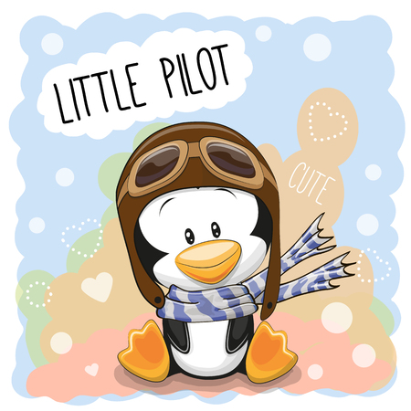 birds cartoon: Cute cartoon Penguin in a pilot hat