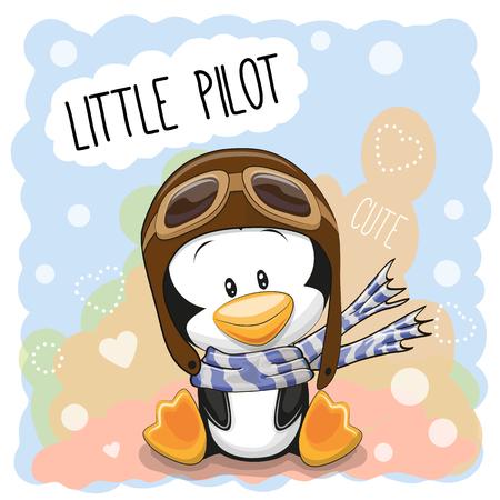 aves caricatura: Pingüino lindo de la historieta en un sombrero de piloto