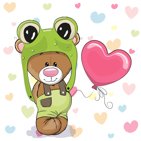 cute bear: Cute Cartoon Teddy Bear in a frog hat with balloon